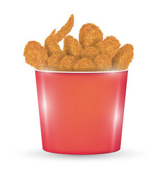 red bucket full a fried chicken on a white back vector image