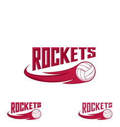 rocket volleyball logo for the team and the cup vector image