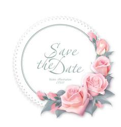 round floral frame delicate wedding floral vector image