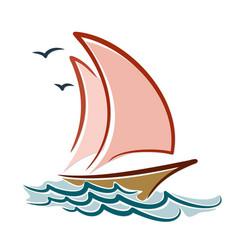 Sailing vessel in sea vector
