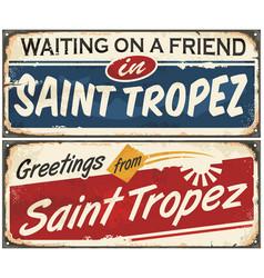 saint tropez retro signs set vector image