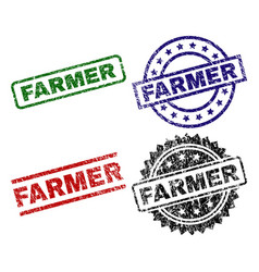 Scratched textured farmer stamp seals vector