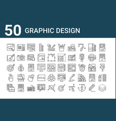 set 50 graphic design icons outline thin line vector image