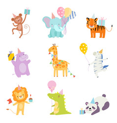 Set cartoon animals in birthday caps vector