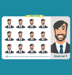 Set male facial emotionsface expressions vector