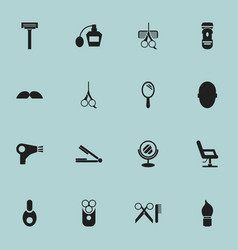 Set of 16 editable hairdresser icons includes vector
