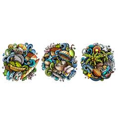 seychelles cartoon doodle designs set vector image