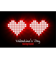 Shining pixel hearts for Valentines day designs vector image