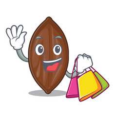 Shopping character pecan nuts in wood bowl vector