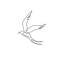 Single continuous line drawing beauty swallow vector