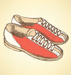 Sketch bowling shoes in vintage style vector image