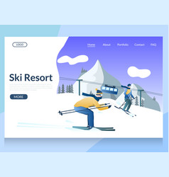 ski resort website landing page design vector image