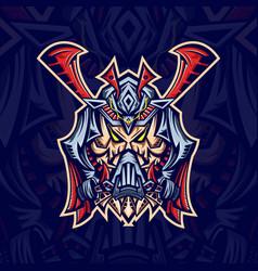 skull samurai mask esport logo template vector image