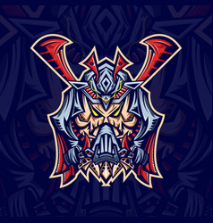 skull samurai mask esport logo template with vector image