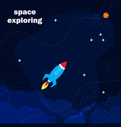 spaceship launch to outer space vector image