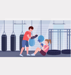 sportswoman boxer doing boxing exercises with vector image