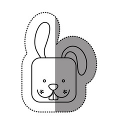 Sticker cute rabbit head cartoon vector