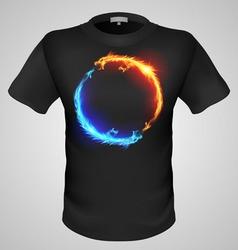 t shirts Black Fire Print man 10 vector image