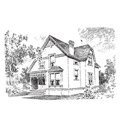 The baldwin quaint porch leads to the front door vector