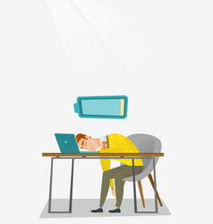Tired employee sleeping at workplace vector