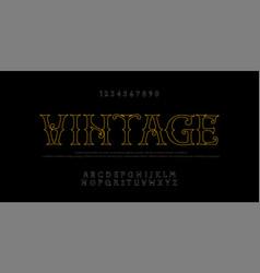 vintage elegant alphabet thin line letters sans vector image