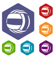 Volleyball icons hexahedron vector