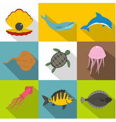 Water wildlife icon set flat style vector