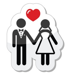 Wedding couple icon as glossy label vector