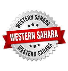 Western Sahara round silver badge with red ribbon vector