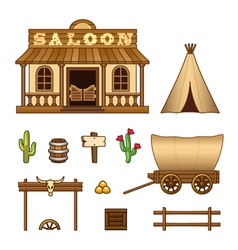 Wild West assets vector image