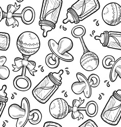 Baby objects pattern vector image