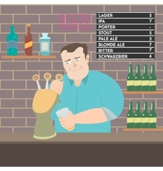 Bartender pouring beer vector image vector image