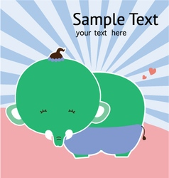cute card with cute elephant vector image