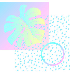 geometric poster monstera memphis in vaporwave vector image vector image