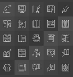 Literature outline icons vector