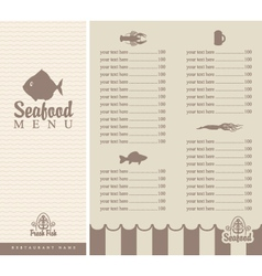 menu for seafood vector image vector image