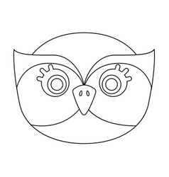 owl muzzle icon in outline style isolated on white vector image