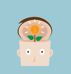 tree of money coins in human head vector image vector image