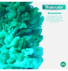 Turquoise swirling ink in water vector image vector image