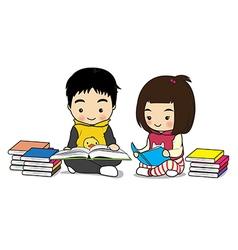 boy and girl read a book vector image