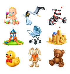 children playground kids and toys 3d icons set vector image vector image