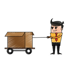 color pencil cartoon business man pulling a box vector image