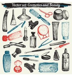 Cosmetics And Beauty Doodles vector image vector image