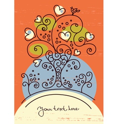 funky love tree vector image vector image