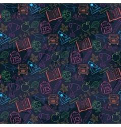 Neon Seamless pattern Back to schoolon a dark vector image vector image