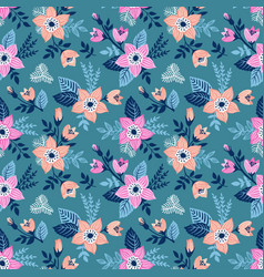 seamless pattern with flowers and butterflies of vector image vector image