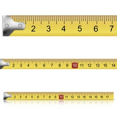 Set of measuring tapes on white background vector image vector image