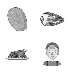 Crime cooking and other monochrome icon in vector
