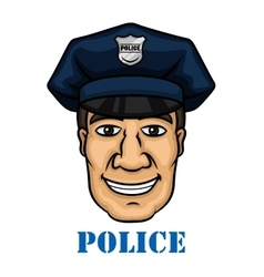 Happy police officer in blue uniform vector image