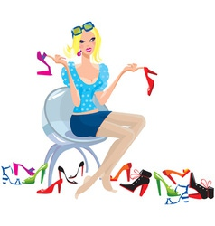 Young woman tries on shoes vector image